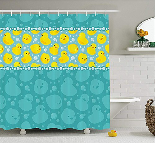 Shower Curtain Set, Cute Yellow Cartoon Duckies Swimming in Water Pattern with Fun Bubbles Aqua Colors, Fabric Bathroom Decor with Hooks, Teal Yellow ()