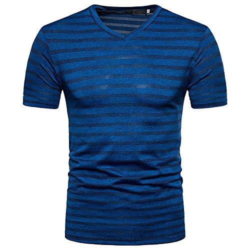 New York Giants Denim - Summer Tops Mens Summer Casual Stripe Print V Neck Pullover T-Shirt Blouse