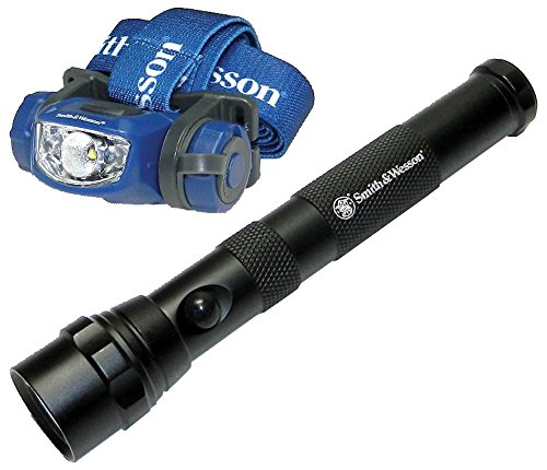 Smith & Wesson Explorer Pack LED Flashlight 129 Lumens Headlamp 97 Lumens CREE 3 Mode Waterproof Tactical Hunting Camping Hiking Fishing Emergency Pocket-Sized