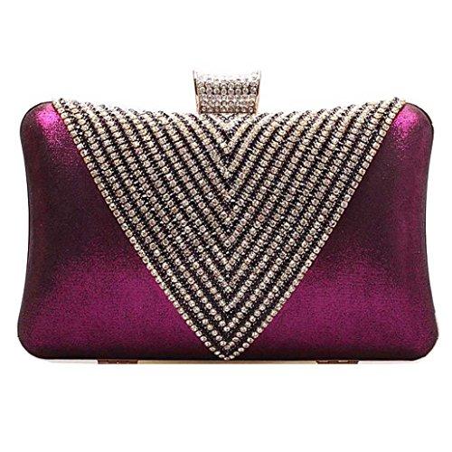 KAXIDY Diamante Embrague Duro Caso De Hombro Del Bolso De Tarde De La Boda Diamantés De Baile Acontecimientos Elegantes (Plata) Púrpura