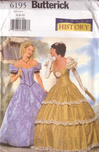 Amazon.com: Butterick 6195 Sewing Pattern Misses Civil War Costume ...