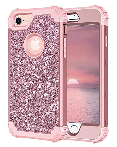 Hekodonk Compatible iPhone 8/iPhone 7 Case, Luxury Stars Sparkle Glitter Shiny Heavy Duty Shockproof Full-Body Protective High Impact Hybrid Cover for Apple iPhone 8 / iPhone 7 (Glitter Rose Gold)