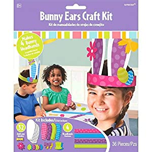 - 514kaIa8 2BhL - amscan Egg-Stra Special Easter Party Springtime Bunny Ears Accessory Craft Kit, Paper, Pack of 36 Costume
