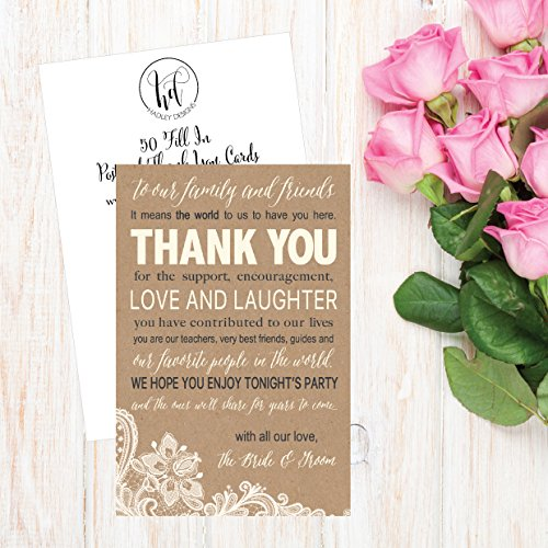 50 Wedding Kraft Thank You Place Cards, Rehearsal Dinner Thank You Table Sign, Menu Place Setting Card Notes, Placement Thank You Note Favors For Family & Guests Photo #2
