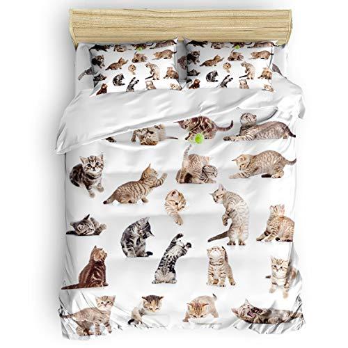- Full Beding Duvet Cover Sets 4 Pieces Comforter Cover Set,Kitty Group Bed Sheet Set for Girls Boys,Include 1 Comforter Cover 1 Bed Sheets 2 Pillow Cases
