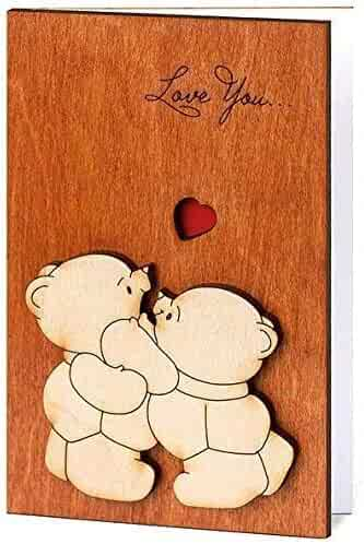 Handmade Real Wood Cute Love You Teddy Bears Funny Novelty Valentine Happy Birthday Greeting Card for Mom Dad Best Friend Sentimental Original Miss U Wooden Fifth 5th Dating Wedding Anniversary Valentines V Day Gift for Him Her Boyfriend Girlfriend Husband Wife Fiance Fiancee Sweetheart Partner