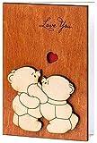 Handmade Real Wood Cute Love You Teddy Bears Funny Novelty Happy...