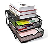 Reliatronic Upgraded 2 Tier Desk Organizer, Mesh File Organizer with 2 Drawers, Premium Solid Construction Letter Trays, Black