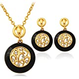GDSTAR Black Earrings Pendant Necklace Set For Women 18K Real Gold Plated Charms Rhinestone Fashion Jewelry Set Vintage Style