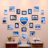 Collage picture frame wall photo frames Photo Wall, Creative Living Room Wedding Photo Wall, Love-shaped Children's Bedroom Photo Wall Photo Frame Wall Portfolio (Color : White+blue)