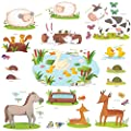 Decowall, DW-1403, Field of Animals peel & stick Nursery wall decals stickers