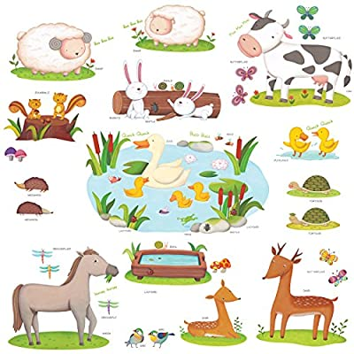 Decowall, DW-1403, Field of Animals peel & stick Nursery wall decals stickers