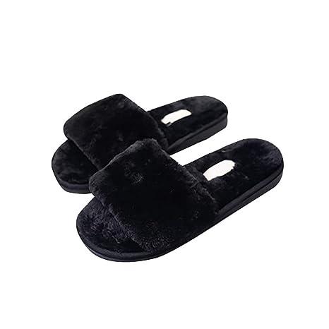cef747e35543e Amazon.com: ASO-SLING Women's Faux Fur Slippers Slides Flat Flip ...