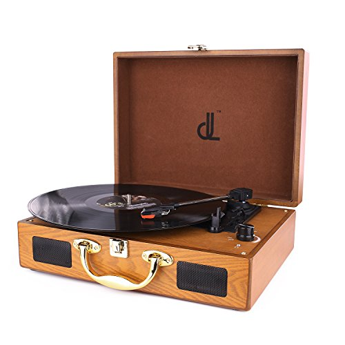 D&L Belt-Drive 3 Speed Turntable Portable Wooden Suitcase Record Player with Built-in Stereo Speakers, PC Recorder, Headphone Jack, RCA line out by D&L