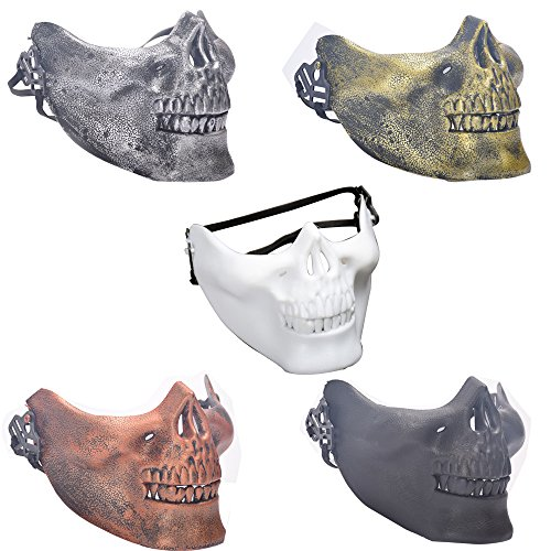 Kaimo 5pc skull jaw half face mask grimace for outdoor protect/costume party/Cs field equipment Halloween -