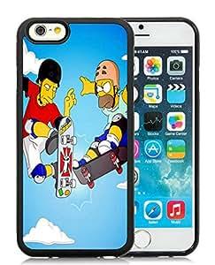 Fashionable DIY Custom Designed Tony Hawk x Homer Simpson Cover Case For iPhone 6 4.7 Inch TPU Black Phone Case CR-650