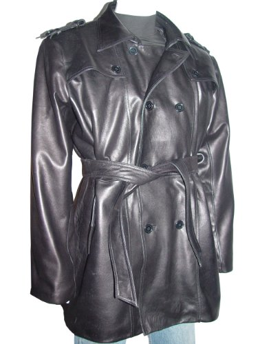 Nettailor 2041 Men Fine Clean Classic Black Leather Trench Coat by NETTAILOR (Image #8)