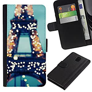 iKiki Tech / Cartera Funda Carcasa - Tower Paris France Lights Blue France - Samsung Galaxy Note 3 N9000 N9002 N9005