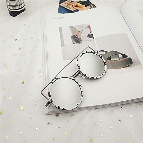 Sunyan Ronde cat colorés Corée écouteur de mode de rue et de personnalité big lunettes de soleil,Gold frame black ash