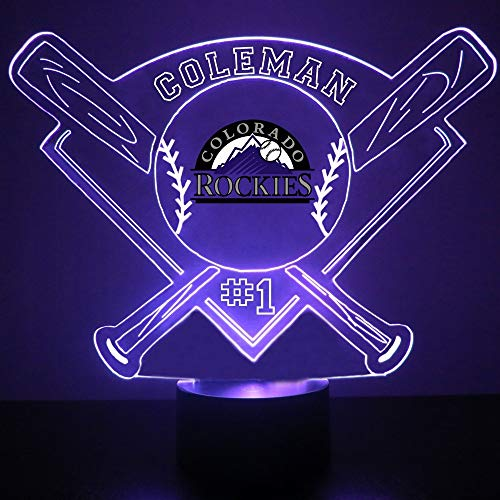 - Colorado Rockies Baseball LED Night Light Customized/Personalized Gift - Featuring Licensed Decal