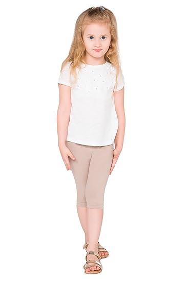 4da1e30de3b51 hi!mom Girls Cropped Cotton Leggings Basic Plain Kids Capri Pants Age 2-13