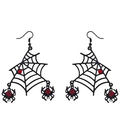 Lux Accessories Black Spider Web Dangling Red Rhinestone Halloween Earrings -