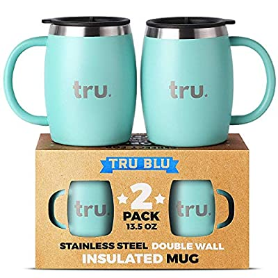 Stainless Steel Coffee Mug, Premium Double Wall Insulated Travel Mugs - Shatterproof, Dishwasher Safe, Comfortable Handle Cups for Tea, Beer
