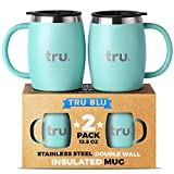 Camping Coffee Mugs with Lids (Set of 2) – Stainless Steel Travel Cup
