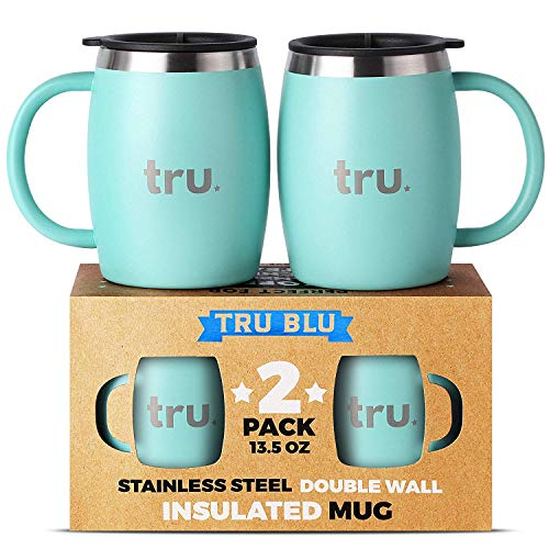 Camping Coffee Mugs with Lids (Set of 2) - Stainless Steel Travel Cup, Double Wall & Insulated Metal Mug with Handle - BPA Free, Shatterproof, Dishwasher Safe ()