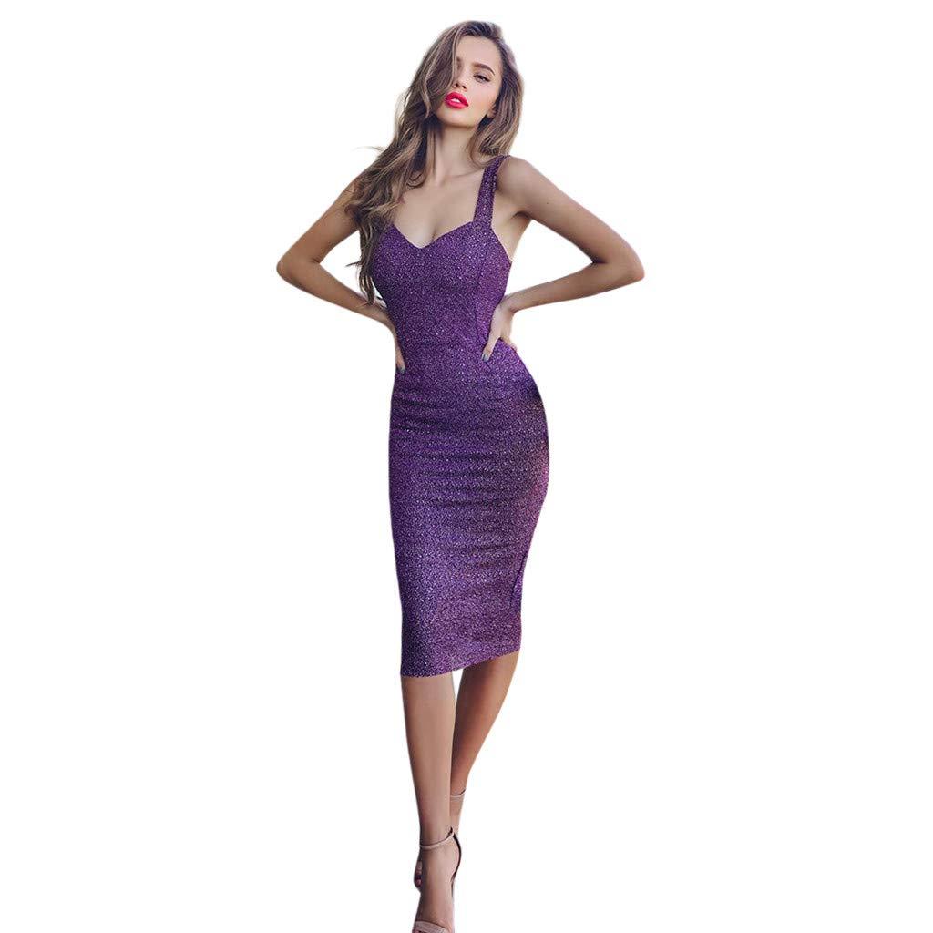 SANFASHION Damen Minikleid,Frauen Sexy Sling Sleeveless Soild Pailletten Party Slim Fit Club Kleid