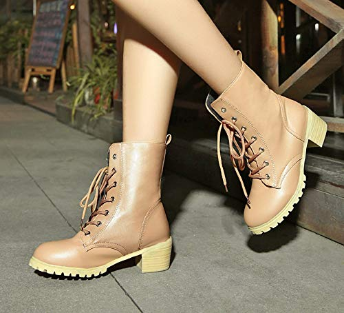 Color Calenti Tobillo Las Montar Zapatos Casual Mujeres Botas El Khaki Agencia Alikeey De Invierno Med Solido Patucos UwxX7qgT