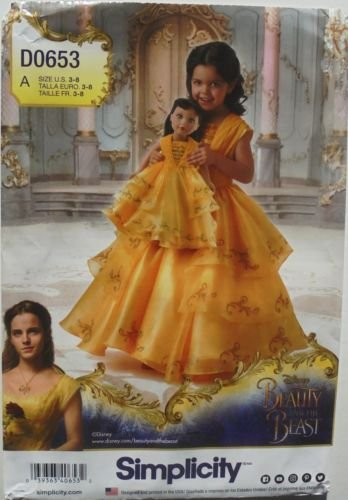 Simplicity D0653 or 8405 Disney's Belle Beauty and the Beast Girls Dress Sizes 3-8 and Matching 18