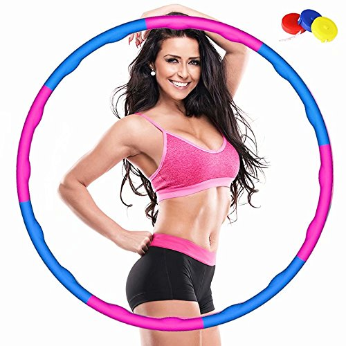 QSMYS Fitness Splicing Weighted Hula Hoop,8 Section Detachable Design,2 Pound,Slim Waist and Strong Abs,Soft Foam Padding for Comfort and Protection,Fun Exercise for Weight Loss (Pink and Blue)