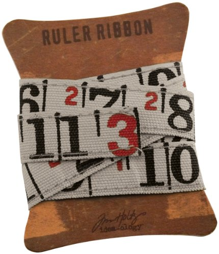 (Ruler Ribbon by Tim Holtz Idea-ology, 1 yard per pack, 5/8 Inches, Cloth, Multicolored, TH92830 )