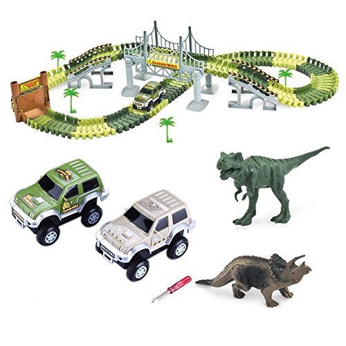 ONTOPON Tracks Circuit 2 Car 142 Pieces Modular, Magic and Games Circuit Car Toy with Dinosaur Ultra Fun Accessories – As Seen on TV (142p)