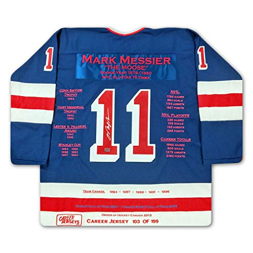Mark Messier New York Rangers Autographed Signed Memorabilia Career Stats Hockey Jersey Le/199 - Certified Authentic