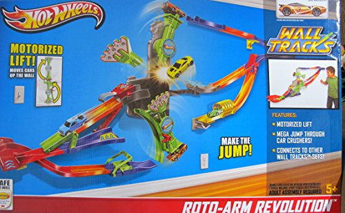 HOT WHEELS Wall Tracks ROTO ARM REVOLUTION TRACK Race SET w 'MOTORIZED' LIFT & VEHICLE Included (2013)