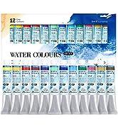 PHOENIX Artist Grade Watercolor Paint Set 12 Colors x 8ml (0.27 Oz.) - Non-Toxic Watercolor Tubes...