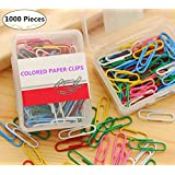 1000 Pieces Metal Paper Clips, Magnolora Assorted Colors Durable Steel Vinyl Coated Wire Clips Office Supply Accessories for Schoolwork Personal Document Organizing Professional Work