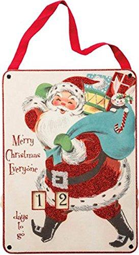 Primitives by Kathy Vintage Countdown to Christmas Santa Sign -