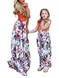 Geckatte Mommy and Me Dresses Casual Floral Family Outfits Summer Matching Maxi Dress (Mom-Large, Picture color)