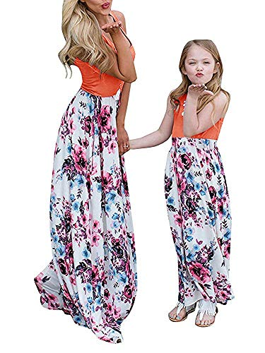 Geckatte Mommy and Me Dresses Casual Floral Family Outfits Summer Matching Maxi Dress (Mom-Large, Picture color)]()