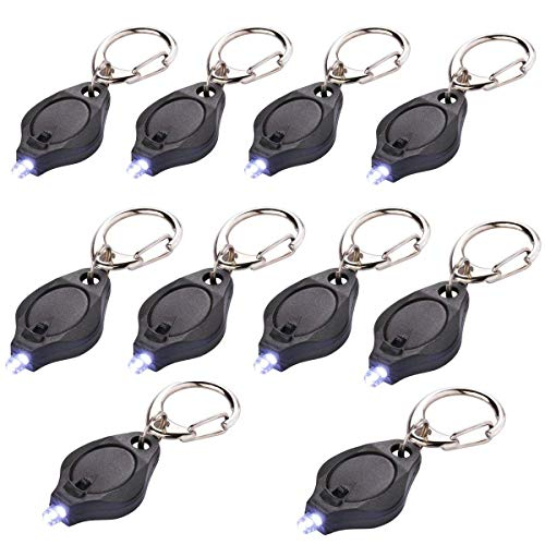 10 Pack Mini LED Flashlight Keychain Ultra Bright Key Ring Light Torch with Hook (Black and White) ()