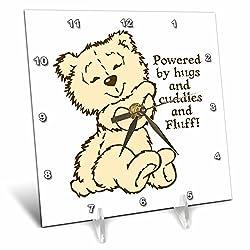 3dRose Russ Billington Teddy Bears - Hugs Cuddles and Fluff- Adorable Teddy Bear Illustration - 6x6 Desk Clock (dc_255173_1)