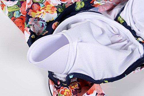 QZUnique Women's Retro Vintage One Piece Swimwear Floral Monokinis Plus Size Navy US XXL by QZUnique (Image #4)
