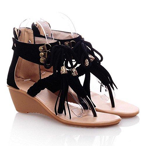 Coolcept Mujer Elegant Tacon De Cuna Cremallera Clip Toe Sandalias Negro