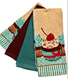 Essential Home 4-Pack Bundle Delightful Treats 100% Cotton Kitchen Dish Towel Set