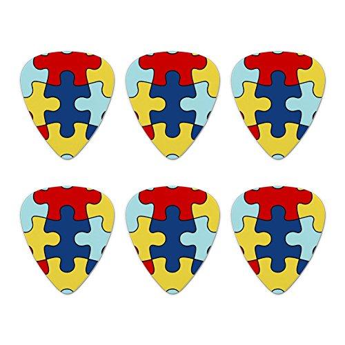 Autism Awareness Diversity Puzzle Pieces Novelty Guitar Picks Medium Gauge - Set of 6 ()