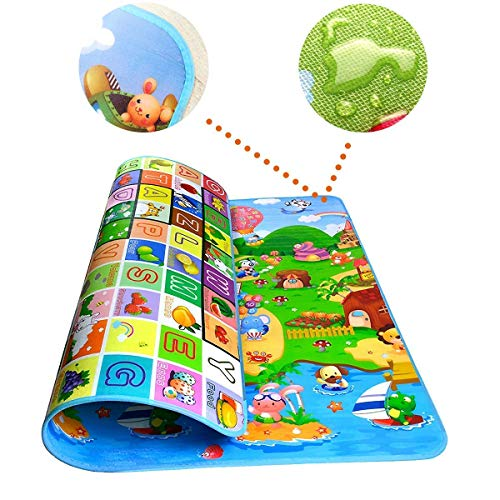 S – Dim Double Side Waterproof Anti Skid Baby Crawling Play Floor Mat for Kids (Large, 120 x 180 cm, Multicolour)