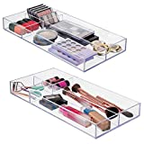 mDesign Divided Makeup Organizer for Bathroom Drawers, Vanity, Countertop - Storage Bins for Makeup Brushes, Eyeshadow Palettes, Lipstick, Lip Gloss, Blush, Concealers - 8''x16'', Pack of 2, Clear